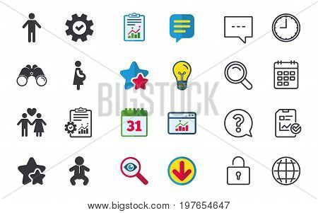 Family lifetime icons. Couple love, pregnancy and birth of a child symbols. Human male person sign. Chat, Report and Calendar signs. Stars, Statistics and Download icons. Question, Clock and Globe