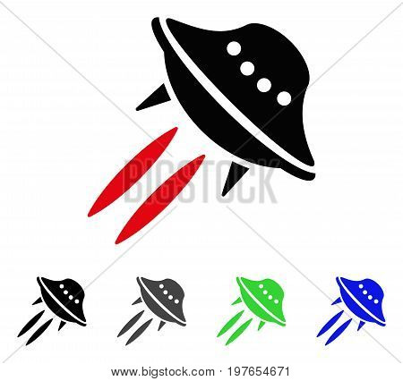UFO Start flat vector pictogram. Colored ufo start gray, black, blue, green pictogram variants. Flat icon style for graphic design.