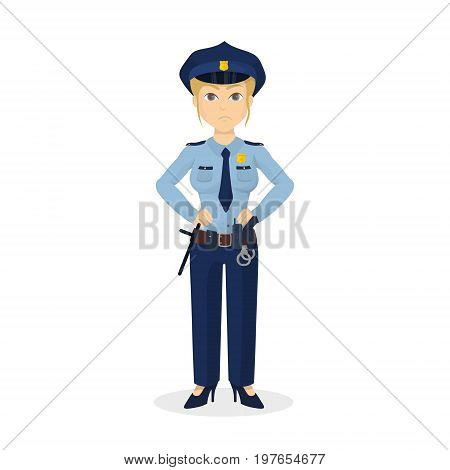 Isolated angry policewoman on white background. Hands down.