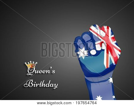 illustration of Hand in Australia flag background with Queen's Birthday text on the occasion of Queen's Birthday