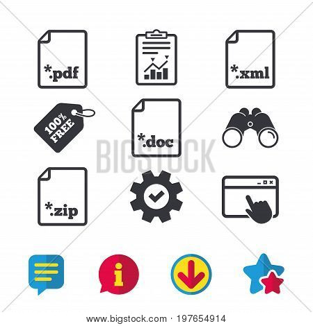 Download document icons. File extensions symbols. PDF, ZIP zipped, XML and DOC signs. Browser window, Report and Service signs. Binoculars, Information and Download icons. Stars and Chat. Vector