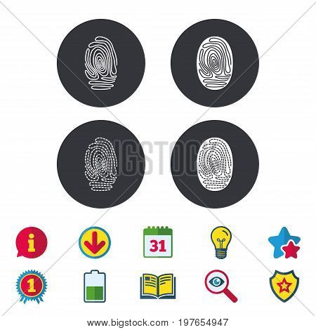Fingerprint icons. Identification or authentication symbols. Biometric human dabs signs. Calendar, Information and Download signs. Stars, Award and Book icons. Light bulb, Shield and Search. Vector