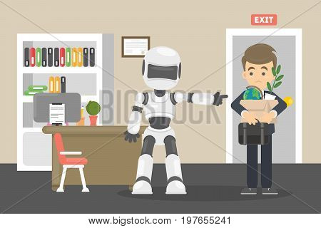 Robot kicked human away from work. Artificial intelligence domination.