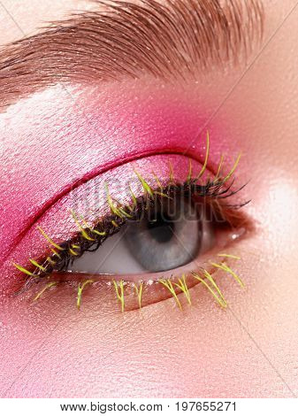 Creative Makeup. False Long Gteen Eyelashes Closeup. Beauty Model Woman Face Make-up With Fantasy Br