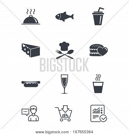 Food, drink icons. Alcohol, fish and burger signs. Hot dog, cheese and restaurant symbols. Customer service, Shopping cart and Report line signs. Online shopping and Statistics. Vector