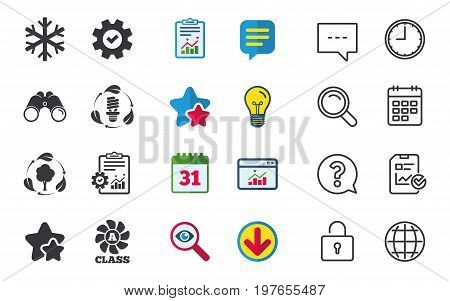 Fresh air icon. Forest tree with leaves sign. Fluorescent energy lamp bulb symbol. A-class ventilation. Air conditioning symbol. Chat, Report and Calendar signs. Stars, Statistics and Download icons