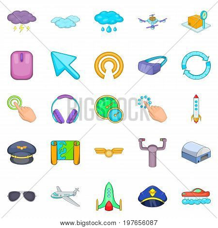 Aeronautical icons set. Cartoon set of 25 aeronautical vector icons for web isolated on white background