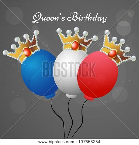 illustration of colorful balloons in crown with Queen's Birthday text on the occasion of Queen's Birthday