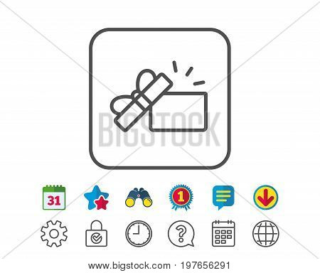 Opened Gift box line icon. Present or Sale sign. Birthday Shopping symbol. Package in Gift Wrap. Calendar, Globe and Chat line signs. Binoculars, Award and Download icons. Editable stroke. Vector