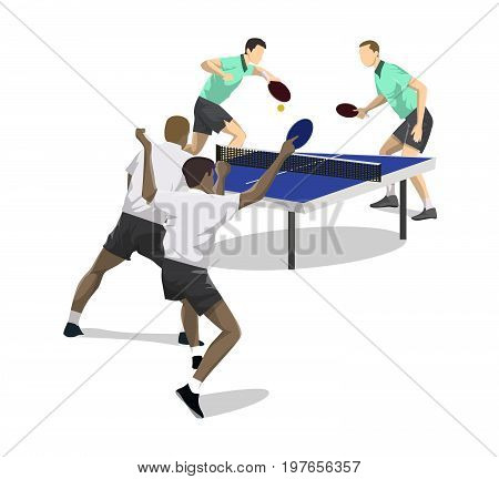 Table tennis players on white background. Four men competing.