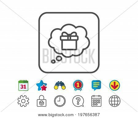Dreaming of Gift line icon. Present box in Comic speech bubble sign. Birthday Shopping symbol. Package in Gift Wrap. Calendar, Globe and Chat line signs. Binoculars, Award and Download icons. Vector