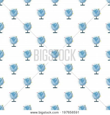 Globe pattern seamless repeat in cartoon style vector illustration