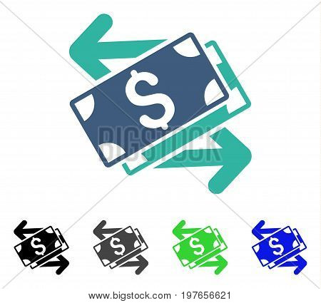 Dollar Banknotes Exchange flat vector illustration. Colored dollar banknotes exchange gray, black, blue, green pictogram variants. Flat icon style for graphic design.