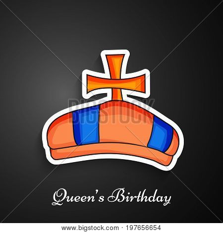 illustration of Crown with Queen's Birthday text on the occasion of Queen's birthday