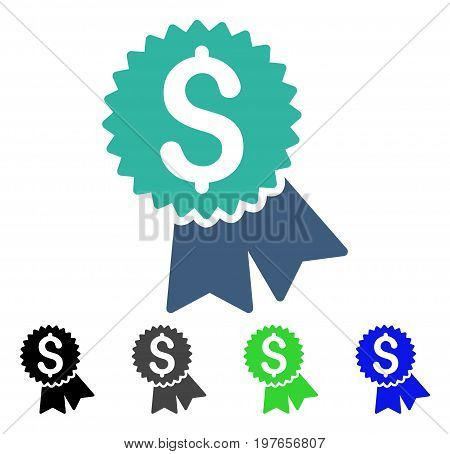 Featured Price Tag flat vector illustration. Colored featured price tag gray, black, blue, green icon versions. Flat icon style for application design.