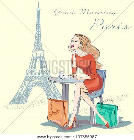 Fashion Girl Sitting Near Eiffel Tower And Happy With Her Paris Shopping