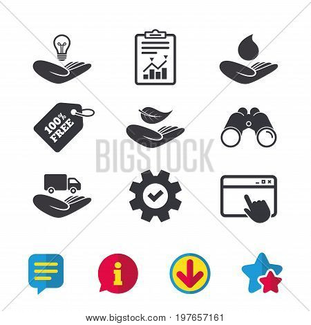 Helping hands icons. Intellectual property insurance symbol. Delivery truck sign. Save nature leaf and water drop. Browser window, Report and Service signs. Binoculars, Information and Download icons