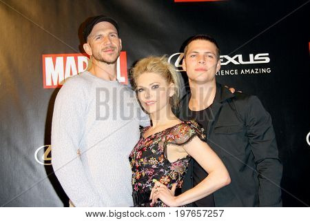 SAN DIEGO - July 22:  Gustaf Skarsgard, Katheryn Winnick, Alex Høgh Ande at Marvel and Lexus Black Panther Party at Comic-Con at the Parq Nightclub on July 22, 2017 in San Diego, CA