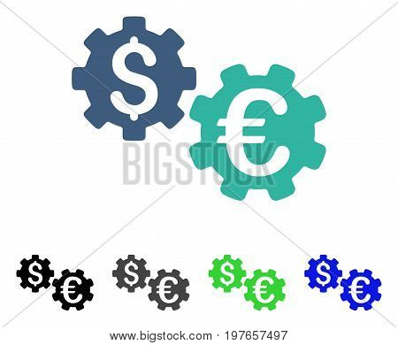 International Financial Mechanics flat vector icon. Colored international financial mechanics gray, black, blue, green pictogram versions. Flat icon style for application design.