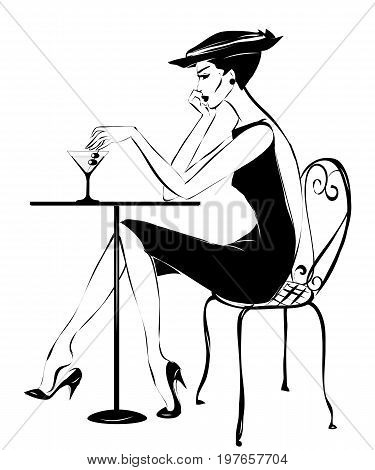 Fashion Woman Drinking Martini In Cafe, Vector Illustration