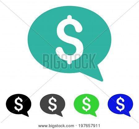 Money Message flat vector pictogram. Colored money message gray, black, blue, green pictogram versions. Flat icon style for application design.