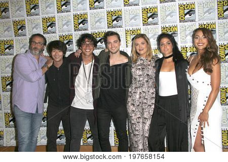 SAN DIEGO - July 21:  Jason Rothenberg, Christopher Larkin, Bob Morley, Richard Harmon, Eliza Taylor, Marie Avgeropoulos, Lindsey Morgan at the Comic-Con  Convention on July 21, 2017 in San Diego, CA