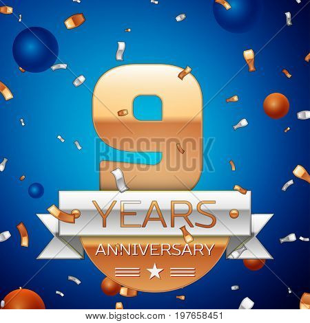 Realistic Nine Years Anniversary Celebration Design. Golden numbers and silver ribbon, confetti on blue background. Colorful Vector template elements for your birthday party. Anniversary ribbon