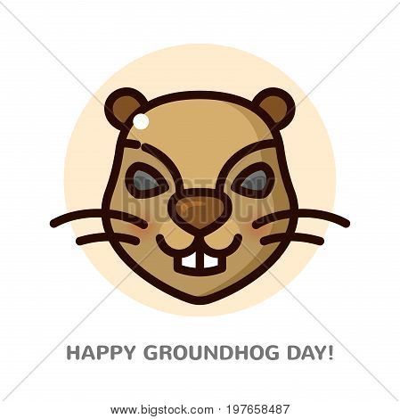 Groundhog day greeting card with a smiling face groundhog, line art vector illustration