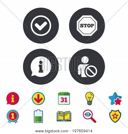 Information icons. Stop prohibition and user blacklist signs. Approved check mark symbol. Calendar, Information and Download signs. Stars, Award and Book icons. Light bulb, Shield and Search. Vector