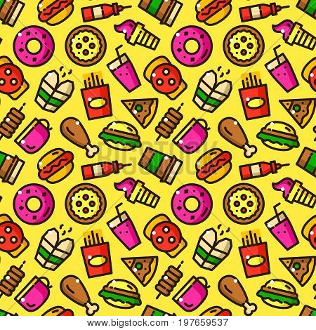 Fast food seamless pattern with objects in line style, eatery vector illustration