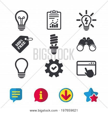Light lamp icons. Fluorescent lamp bulb symbols. Energy saving. Idea and success sign. Browser window, Report and Service signs. Binoculars, Information and Download icons. Stars and Chat. Vector