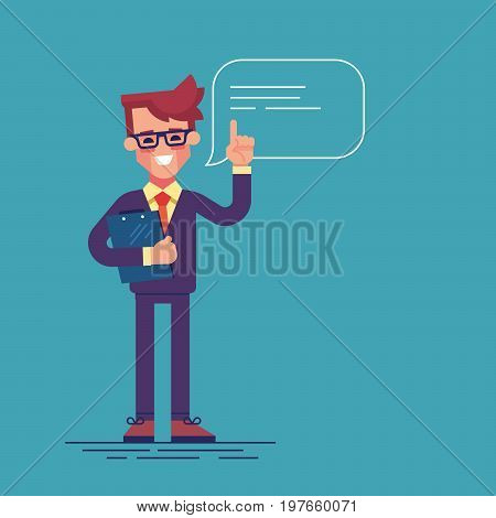 Handsome businessman with glasses raising up his finger to give advice or recommendation. Cute man speaking with speech bubble and holding clipboard. Colorful flat vector illustration.
