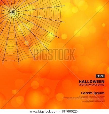orange blurred bokeh halloween background with spiders web Vector illustration.