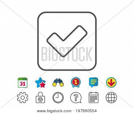 Check line icon. Approved Tick sign. Confirm, Done or Accept symbol. Calendar, Globe and Chat line signs. Binoculars, Award and Download icons. Editable stroke. Vector