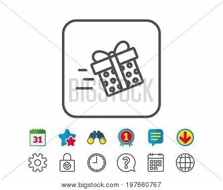Gift box Delivery line icon. Present or Sale sign. Birthday Shopping symbol. Package in Gift Wrap. Calendar, Globe and Chat line signs. Binoculars, Award and Download icons. Editable stroke. Vector