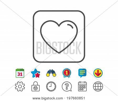 Heart line icon. Love sign. Valentines Day sign symbol. Calendar, Globe and Chat line signs. Binoculars, Award and Download icons. Editable stroke. Vector