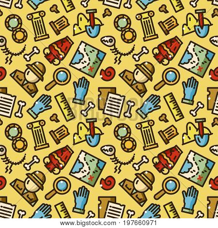Archeology seamless pattern with objects in line style, excavation vector illustration