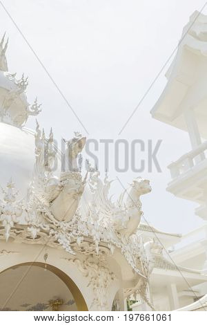 Chiang Rai, Thailand: April 20,2017 - White Temple (Wat Rong Khun) the famous temple which is decorated in white tone color.
