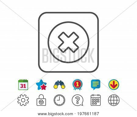 Delete line icon. Remove sign. Cancel or Close symbol. Calendar, Globe and Chat line signs. Binoculars, Award and Download icons. Editable stroke. Vector