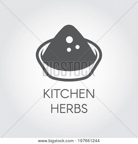 Plate with abstract herbs. Logo drawing in flat design for various recipes, cookbooks, culinary sites and other projects. Vector illustration