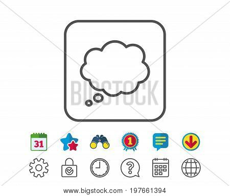 Comic Speech bubble line icon. Chat sign. Communication or Comment symbol. Calendar, Globe and Chat line signs. Binoculars, Award and Download icons. Editable stroke. Vector