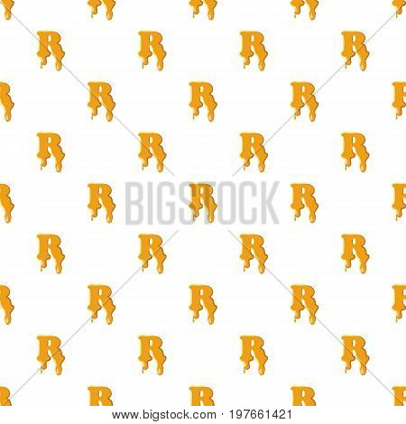 Letter R from honey pattern seamless repeat in cartoon style vector illustration