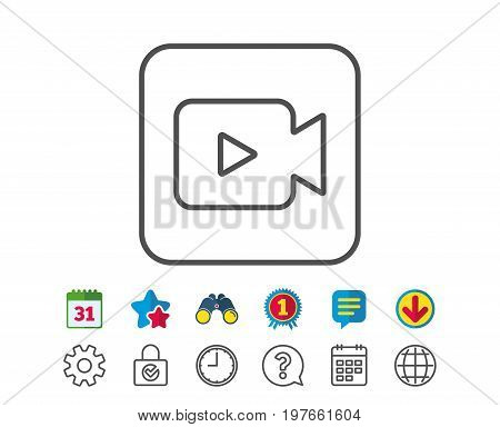 Video Camera line icon. Movie or Cinema sign. Multimedia symbol. Calendar, Globe and Chat line signs. Binoculars, Award and Download icons. Editable stroke. Vector