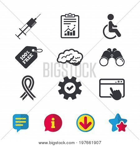 Medicine icons. Syringe, disabled, brain and ribbon signs. Breast cancer awareness symbol. Handicapped invalid. Browser window, Report and Service signs. Binoculars, Information and Download icons