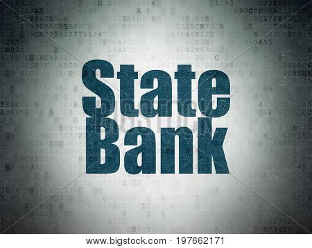 Banking concept: Painted blue word State Bank on Digital Data Paper background