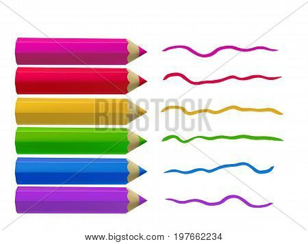 Colour pencils and colorful strokes isolated on white background. Education and creativity concept.