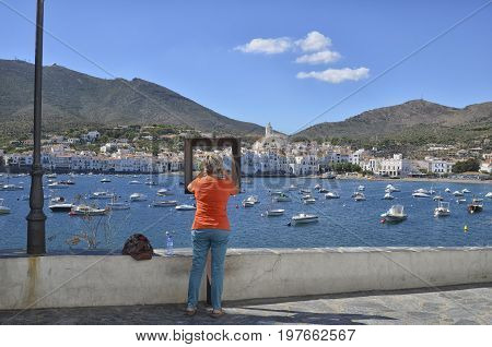 Cadaques Spain - September 18 2016: Memory picture of the town of Cadaques