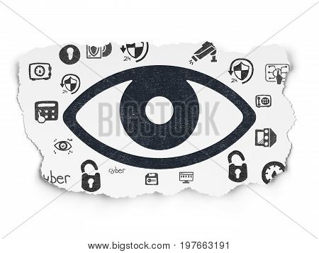 Protection concept: Painted black Eye icon on Torn Paper background with  Hand Drawn Security Icons
