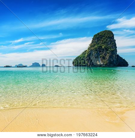 Clear Water And Blue Sky. Phra Nang Beach, Thailand