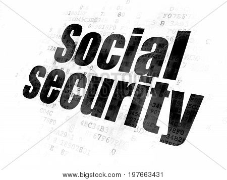 Privacy concept: Pixelated black text Social Security on Digital background